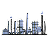 Petrochemical factory - manufacturing plant silhouette, chemical