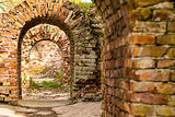 study of the old fortress of the catacombs brick ruined arch of a series of broken portal dangerous walk