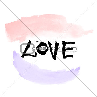 Hand written black lettering LOVE with watercolor brushstrokes for valentines day design poster, greeting card, photo album, banner. Calligraphy vector illustration.