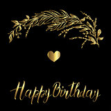 Vector greeting card. Composition with golden happy birthday inscription and broad branch in on a black background.