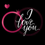 Vector greeting card. Composition with I LOVE YOU inscription and pink elements on a black background. Universal love postal.