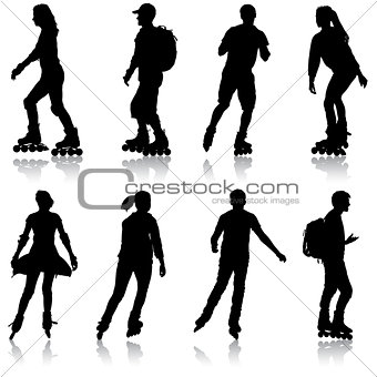 Black set silhouette of an athlete on roller skates on a white background