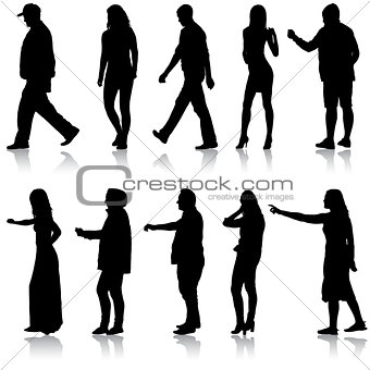 Set silhouette of People walking on White Background