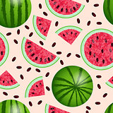 Watermelon - a whole, from different sides, cut off half, cut slice, cut quarters. Seamless Pattern. Texture of the watermelon with seed. Vector illustration. Pink background