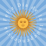 Argentina Independence Day. 9 July. Sun of May. Rays from the center. Event name