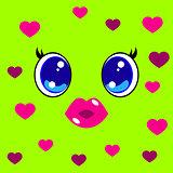World Kiss Day. 6 July. Kawai style - eyes and lips, hearts.