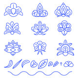 flat color outline flower set