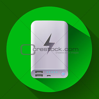 power bank icon, portable charging device, vector illustration