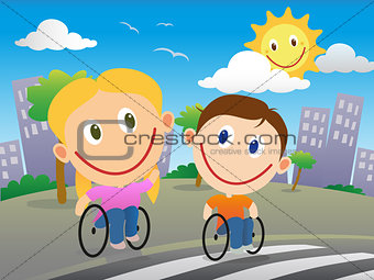 Wheelchair children crossing the road