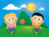 Wheelchair children playing