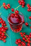 Red currant juice in glass
