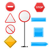 Road sign. Nine items template.