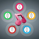 Music education Infographic. Note icon.