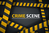 Crime ribbon template. Caution, stop, police line, crime scene.