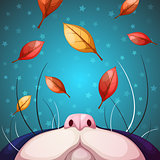 Cartoon cat characters. Fall illustration.