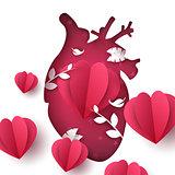 Love landscape. Medical heart illustration.
