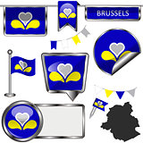 Glossy icons with flag of Brussels, Belgium