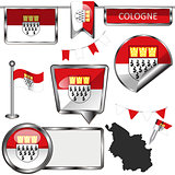 Glossy icons with flag of Cologne, Germany