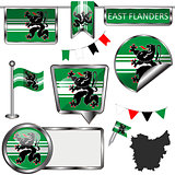Glossy icons with flag of East Flanders, Belgium