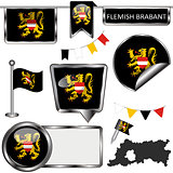 Glossy icons with flag of Flemish Brabant, Belgium