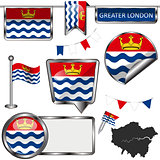 Glossy icons with flag of Greater London, UK