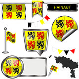 Glossy icons with flag of Hainaut, Belgium