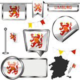 Glossy icons with flag of Limburg, Belgium