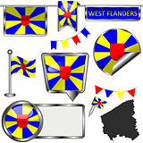 Glossy icons with flag of West Flanders, Belgium
