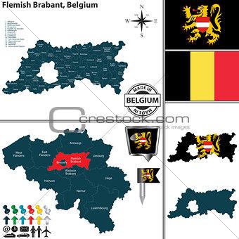 Map of Flemish Brabant, Belgium