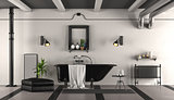 Black and white retro bathroom