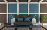 Brown and blue master bedroom