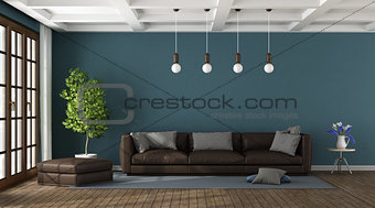 Brown sofa in a blue living room