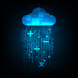 Vector background technology in cloud concept.