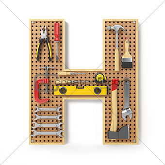 Letter H. Alphabet from the tools on the metal pegboard isolated