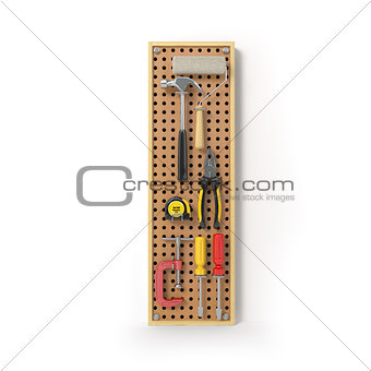 Letter I. Alphabet from the tools on the metal pegboard isolated