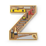 Letter Z. Alphabet from the tools on the metal pegboard isolated