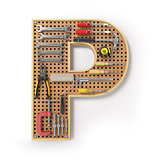 Letter P. Alphabet from the tools on the metal pegboard isolated