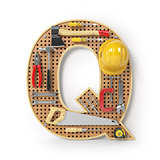 Letter Q. Alphabet from the tools on the metal pegboard isolated