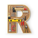 Letter R. Alphabet from the tools on the metal pegboard isolated