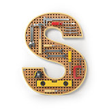 Letter S. Alphabet from the tools on the metal pegboard isolated