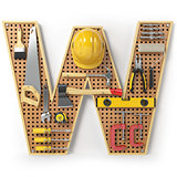Letter W. Alphabet from the tools on the metal pegboard isolated