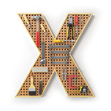 Letter X. Alphabet from the tools on the metal pegboard isolated
