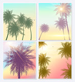 Summer Time Natural Palm Banners or posters, flyer template. Background set with palms, leaves, sea, clouds, sky, beach colors. Vector Illustration