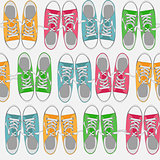 Seamless Pattern with shoes on color background Vector Illustration