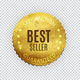 Best Seller Golden Shiny Label Sign. Vector Illustration