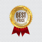 Best Price Golden Shiny Label Sign. Vector Illustration