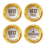 Best Price, Seller, Choice and Exclusive offer Golden Shiny Label Sign Collection Set. Vector Illustration