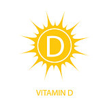 Vitamin D Icon with Sun Vector Illustration