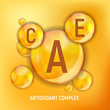 Vitamin A, C, E  Icon. Antioxidant Complex. Vector Illustration