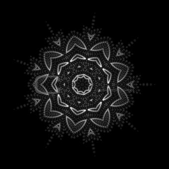 Mandala, oriental vector ornament. Abstract linear flower. Indian, ethnic round drawn pattern. Vector circular geometric illustration on black background.